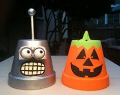 Eco-Halloween Crafts for Kids: recycled flower pot.  Visit us at www.millenniumwasteinc.com to learn more about our garbage and recycling services.