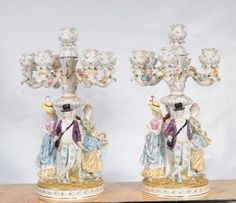 Pair Meissen Porcelain Figurine Candelabras German Dresden Candles