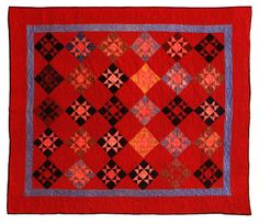"""So some quilters today think THEY invented the """"Modern Quilting movement"""" ? Take a look at this antique Ohio Star by Mattie Bontrager, Topeka, IN from the Pottinger Amish Collection. Amish Quilt Patterns, Amish Quilts, Old Quilts, Antique Quilts, Vintage Quilts, Star Quilt Blocks, Star Quilts, Civil War Quilts, Sampler Quilts"""