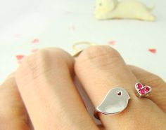 Cute Chick Ring Womens Teens Bird Ring Gold Silver Jewelry Crystal Wrap Ring Size Free Adjustable gift idea on Etsy, $12.00