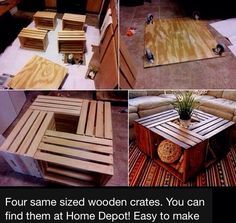 DIY Wooden Crates Table.....Love this!!! I will be making one of these....