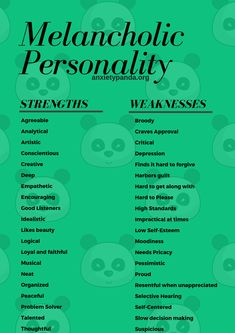 melancholic strengths and weaknesses