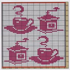 Here I offer only the chart pattern for a potholder. I am assuming that you are familiar with the double-faced knitting technique too. Filet Crochet Charts, Crochet Motifs, Knitting Charts, Knitting Patterns, Crochet Patterns, Cross Stitch Embroidery, Cross Stitch Patterns, Fillet Crochet, Crochet Potholders