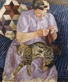 'Lady with Cat' by John Arthur Malcolm Aldridge (1905–1983)