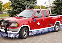 Use our affordable patriotic truck parade kit to quickly transform your vehicle into a patriotic float.