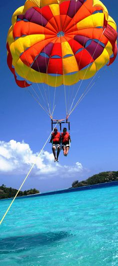 Parasailing in tropical paradise.