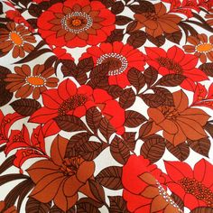 60s fantastic floral vintage fabric with a nice retro by Inspiria