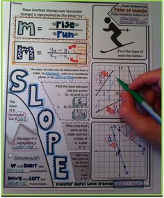 "Slope ""Doodle Notes"" for Pre-Algebra or Algebra 1 - integrating the right and left brain hemispheres Algebra Activities, Math Resources, Teaching Math, Math Teacher, Algebra Projects, Notebook Diy, Notebook Doodles, Algebra 1, Calculus"