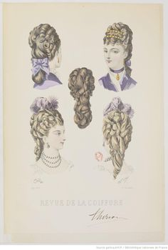 The Bustle period hairstyles were usually brushed back from face and neck in to a cascade of curls down the back in a low of high bun. False hair was also used.