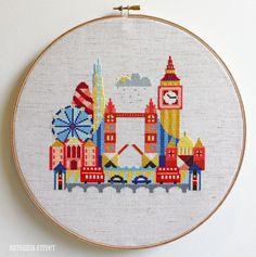 Pretty Little London - Cross stitch or needlepoint pattern by Satsuma Street on Etsy.