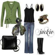 """""""Green and Black with Jeans"""" by jackie22 on Polyvore"""