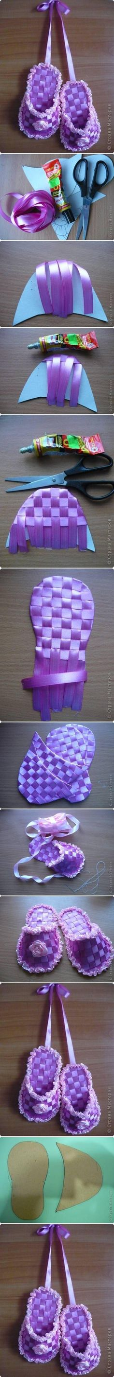 DIY Ribbon Crafts : DIY Ribbon Slippers cute for baby shower