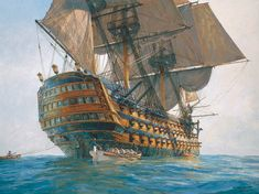 HMS Victory, Lord Nelson's flagship at the Battle of Trafalgar shown in historical naval art prints. HMS Victory in naval paintings by naval artists Brian Wood, Graeme Lothian, Bill Bishop, Geoff Hunt and Robert Taylor.