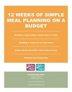 12 Weeks of Gluten and Dairy Free Meal Plans for those on a budget and short on time!  Comes with weekly menu, shopping list and delicious recipes. Gluten and dairy free resources included as well!