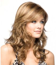 Women& Wave Wigs Curly Wig With Bangs Medium Light Gold Synthetic Wigs Medium Length Hair With Layers, Wavy Layers, Wilshire Wigs, Medium Hair Styles, Long Hair Styles, Hair Medium, Curls For Long Hair, Curly Hair, Thin Hair