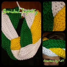 This hand crocheted Braided Infinity Scarf is Ready to Ship! Made from a SOFT bulky acrylic yarn it is a great way to show your team pride.