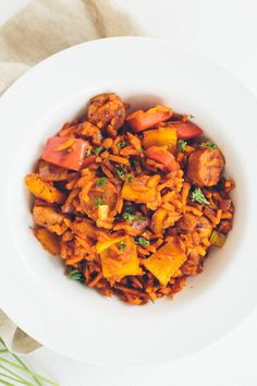 """Chicken Sausage and Peppers with Sweet Potato """"Dirty Rice"""""""
