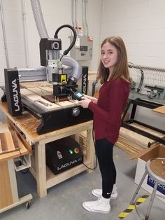 Woodworking School A Strayer Middle School student on their IQ CNC tabletop router.