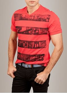 """Vintage style street shots and iconic imagery bloom from the segmented stripe design on this """"Stripealicious"""" t-shirt from Marc Ecko Cut"""