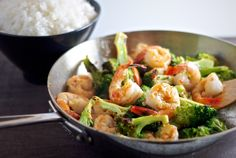 Shrimp and Broccoli stir-fry with sweet chili...this was delicious and so quick to make. Would probably taste great with chicken as well.