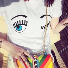 New Summer Women's Casual T-Shirt Fashion Eyelash Printing Tees Harajuku Cotton t shirt Tops Woman camisetas