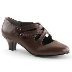 Funtasma Dame 02 Brown Matt PVC Victorian Shoe with Cross Over Straps
