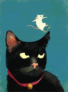 Illustration by Eva Vázquez - Souris faisant du skate sur un chat noir.