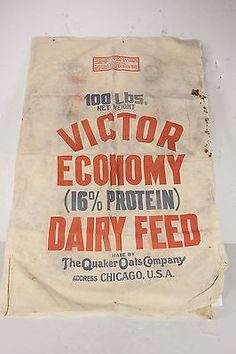 VICTOR Economy Dairy Feed Sack Quaker Oats Co Chicago Double Sided Graphics