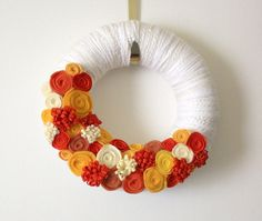 Candy Corn Wreath, Halloween, Orange, Yellow, White, 12 inch Size