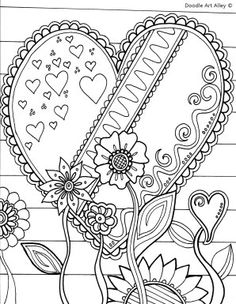 free valentines day coloring pages from doodle art alley