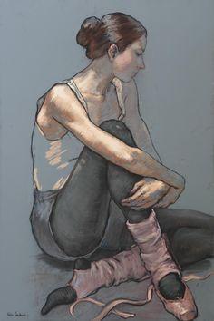 Katya Gridneva (Ukrainian-Russian, b. 1965), seated ballerina pastel drawing.
