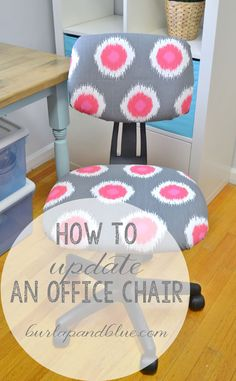 How to update a plain jane office chair (with only fabric and hot glue)! Office Chair Makeover, Office Chair Covers, Office Chairs, Office Decor, School Chairs, Office Ideas, Ashley Furniture Chairs, Diy Furniture, Furniture Update