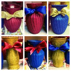 Snow White colored vases. Cute for centerpieces.