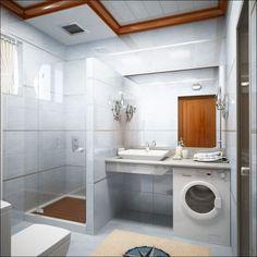 Panelákové koupelny a chyby v jejich prostorovém řešení With a cupboard below and doors covering the washing machine