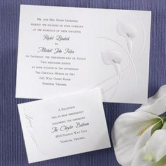 Pearlized Bright White Calla Lilies Lily Wedding Invitations Invitation