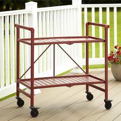Cosco Indoor/Outdoor Slatted Folding Serving Cart, Brown