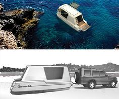caravan home Aquatic Caravan: Floating Travel Trailer + Water-Ready RV. OH YEAH! I would live in this. Kayak Camping, Outdoor Camping, Hybrid Camper, Caravan Home, Caravan Ideas, Luxury Campers, Camper Boat, Cool Campers, Boat Trailer
