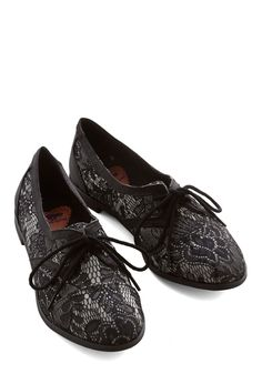 Readily Reliable Flat in Black Lace. Leave it to you to take a classic shoe - like this pair of black lace Oxfords - and turn it absolutely chic with every wear! #black #modcloth