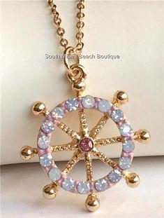 Gold Plated Crystal Boat Ship Wheel Necklace Nautical SailBoat Beach Island USA #CrystalAvenue #Pendant