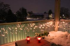 Balcony Christmas Lights. Kids want me to decorate the balcony and get a real tree for outside.