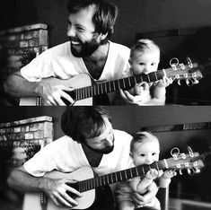 "baby with dad ""playing"" on the guitar ;)"