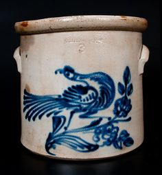 WHITES UTICA Stoneware Crock w/ Elaborate Cobalt Bird : Lot 312