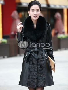 Black Long Sleeves Belt Sheepskin Womens Fox Fur Coats. See More Fur Coats at http://www.ourgreatshop.com/Fur-Coats-C798.aspx