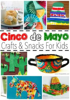 Cinco de Mayo Crafts and Snacks for Kids Celebrate Cinco de Mayo with kids! Great collection of crafts and snacks that you can make with your toddler, preschooler, or elemetnary aged child to help them learn about Mexico and Mexican culture. Kids Crafts, Preschool Activities, Arts And Crafts, Mexican Crafts Kids, Toddler Preschool, Easy Crafts, Spring Activities, Cork Crafts, Toddler Crafts