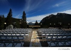 Wedding ceremony on the terrace at the Banff Springs Hotel - Banff Wedding Photography