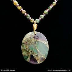 FLUORITE PENDANT NECKLACE in Purple and Green with Tourmaline and Amethyst Czech Crystals