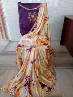 Satin shibouri sarees with blouse embroidery and mirror work lace Shibori Sarees, Trendy Sarees, Mirror Work, Indian Designer Wear, Kurtis, Blouse Designs, 30th, Collections, Blouses