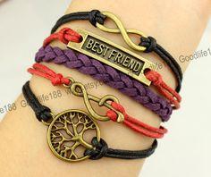best friend bracelet note bracelet tree bracelet by Goodlife188, $5.99