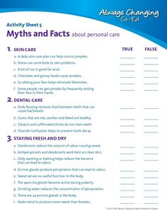 Hygiene Sheets for Adults | Personal Hygiene Worksheets