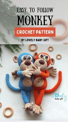 Crochet Animal Patterns, Crochet Patterns Amigurumi, Knitting Patterns, Crochet Gifts, Diy Crochet, Crochet Baby, Monkey Pattern, Baby Girl Patterns, Baby Shower Gifts For Boys